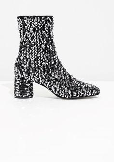 & Other Stories image 1 of Sequin Velvet Boots in Sequin