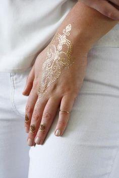 Delicate gold henna temporary tattoos - Tattoorary