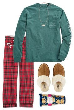 """for Christmas morning ❤️❤️"" by conleighh ❤ liked on Polyvore featuring J.Crew, Vineyard Vines, Kendra Scott, UGG Australia, Lilly Pulitzer, women's clothing, women's fashion, women, female and woman"