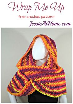 """This wrap is really more of a very large cowl. Its great for a plus size as it is large enough to wrap around twice even with a larger sized model. You can make it longer or shorter by changing the starting chain size. Crochet Shawls And Wraps, Crochet Scarves, Crochet Clothes, All Free Crochet, Knit Crochet, Crochet Hats, Crochet Turban, Knitting Patterns, Girly"