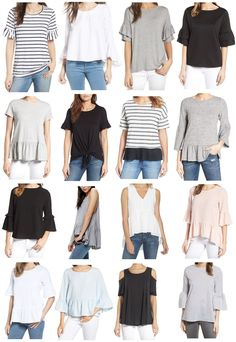 affordable spring tops, ruffle sleeve tops, bell sleeve tops,