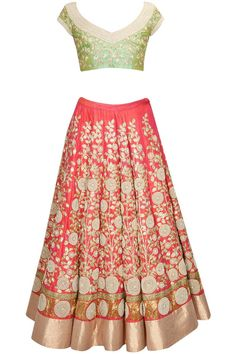 This Coral color Bridal Lehenga Choli features in raw silk lehenga with zari, pearl and zardosi floral embroidery all over. this Coral color Bridal Lehenga Chol