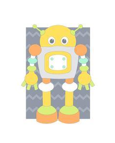 Nursery Robot Art, Sci Fi Illustration, Baby Room Decor, Children's Wall Art, Cute Robot Illustration, Kids Bedroom, gray, multicolor 88