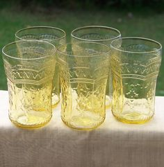 5 Golden Glo Amber Depression Glass Patrician Tumblers 9 ounce