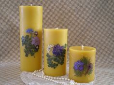 Beeswax Candle Pillar with REAL dried by peaceblossomcandles, $21.50