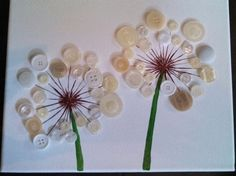 Dandylions in button acrylic paint on by dreamingdogdesigns, $ 25.00