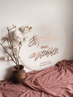 ROUND Acrylic Wedding Sign | Clear Perspex Engagement Birthday Kitchen Tea Welcome Signs | Willow and Ink Wedding Themes, Wedding Cards, Our Wedding, Event Signage, Wooden Wedding Signs, Diy Resin Crafts, Clear Perspex, Guest Book Sign, Bridal Show