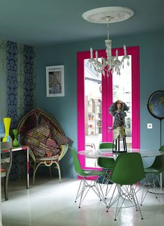 lacquered pink door frame