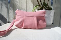 Bag purse wristlet Organic Cotton in pink by Themidnightsundesign