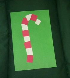 Cards for kids to make. easy patterning candy cane.