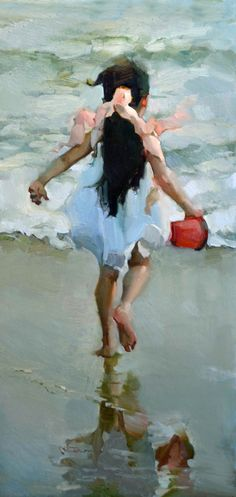 "Love the contrast, colors; green/pink/red, and the brushwork.  Nancy Seamons Crookston ""Building Castles in the Sand"""