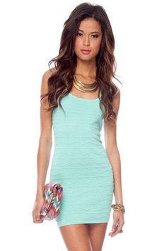 Scalloped Edge Dress in Mint $47 at www.tobi.com