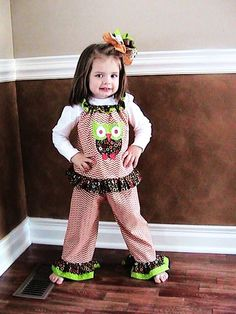 Custom Boutique Orange Chevron Stripes ruffled pants Outfit set with appliqued OWL  Toddler Girls