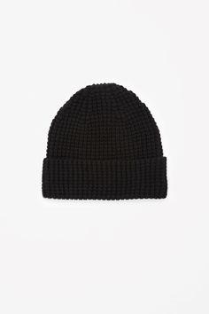 Waffle-knit wool hat