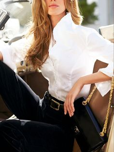 Love everything about this...Purse, Belt, Pants and wonderful White Blouse...