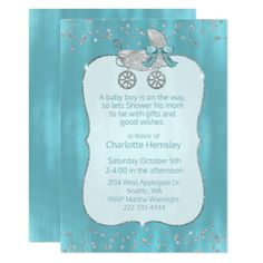 Glam Silver Pram Baby Shower Invitation - baby gifts child new born gift idea diy cyo special unique design
