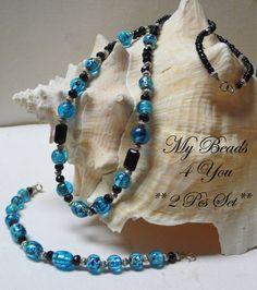 Beaded Jewelry Blue Beaded Jewelry Beaded Bracelet by mybeads4you, $30.00    necklace and bracelet!