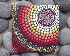 """Brand Design, Aboriginal Dot kunst schilderij, door Biripi kunstenaar Raechel Saunders, 4 """"x 4"""" canvas board, acryl verf, boho decor, ombre kunst"""