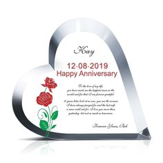 This Crystal Heart Anniversary Gift stands for so much more than just fine material. This plaque can be detailed to your exact specifications to mark a milestone anniversary and celebrate your love. Wedding Anniversary Gifts, Happy Anniversary, Crystal Gifts, Love Messages, Heart Shapes, Promotion, Awards, Group, Crystals