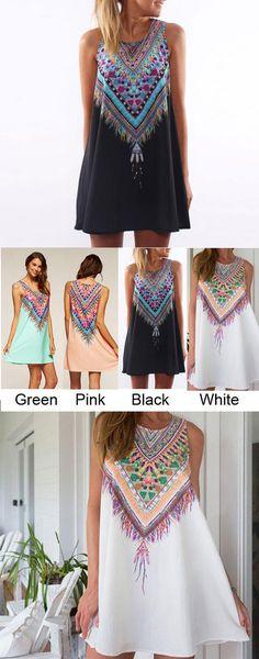 Folk Geometry Printing Round Neck Dress for big sale !#folk #geometry #round #dress #summer