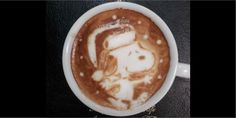 Snoopy latte art - and all I could do was a leaf and a heart! :)