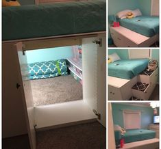 Use kitchen cabinets to loft bed, but keep the back out of one of them so you create a secret space How cool ! is part of Used kitchen cabinets - Cute Room Ideas, Cute Room Decor, Teen Room Decor, Bedroom Decor, Bedroom Storage, Bedroom Furniture, Furniture Ideas, Diy Room Ideas, Cool Bedroom Ideas