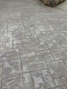 stamped concrete patio- looks like slate, but is way less costly