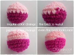 Crochet Regular Color Change Compared to the Perfect Color Change - Tutorial ❥ 4U // hf