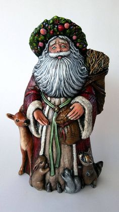 Hand Painted Ceramic Old World Santa Claus St. Father Christmas, Christmas Art, Christmas Ideas, New Crafts, Holiday Crafts, Christmas Centerpieces, Christmas Decorations, Ceramic Bisque, St Francis