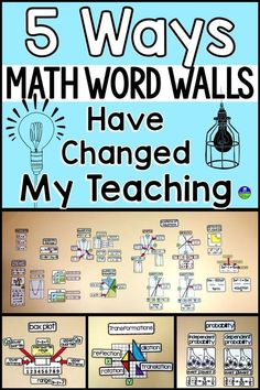 Math word walls have completely changed my teaching! From reminders to student independence to making the room an inviting place to learn, there are so many positives. In this post I want to highlight 5 reasons I believe so strongly in math word walls, es Math Teacher, Teaching Math, Kindergarten Math Wall, Teaching Geometry, Teaching 5th Grade, Kids Math, Teacher Memes, Teacher Tips, Teaching Reading