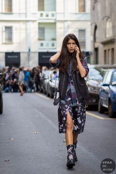 Chiara Totire before Dolce & Gabbana fashion show. Milan Fashion Week SS 2016