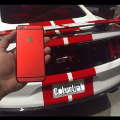 Beauty & The Beast. Matte Red Custom iPhone 6 meets The 2015 Mustang GT. turbo charged.