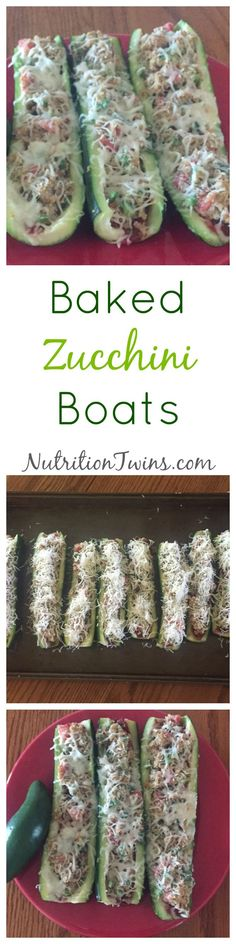 Baked Zucchini Boats | Only 114 Calories | Delicious way to get veggies & protein | Great satisfying appetizer to eat less at the meal | For Nutrition & Fitness Tips & RECIPES please SIGN UP for our FREE NEWSLETTER www.NutritionTwins.com