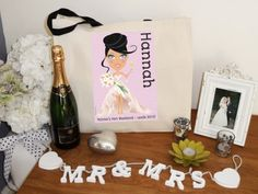 Personalised bags for brides and hens from jollynicegifts.com great for all your bridal bits  bobs #bride #hen parties #personalised bag
