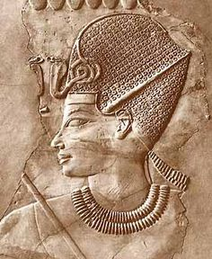 Ancient Egyptian tomb relief sculpture of King Amenhotep III with a crown, from the grave of Chaemhat, Thebes West. 18th Dynasty 1360 BC. |