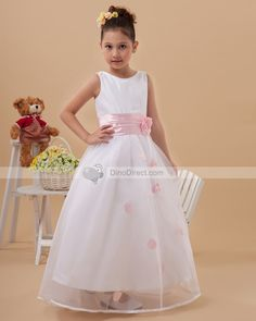 Beautiful Handmade Flowers Sleeveless Ankle-Length Taffeta & Organza Flower Girl Dress