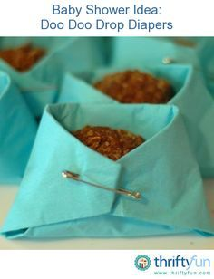 My sister made these cute baby shower treats for her friend. Doo doo drops are a yummy treat that we ate as kids. Their finished appearance lends them very well to be put in little napkin diapers.