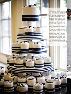 This tower of mini cakes was created for a nautical themed Muskoka wedding