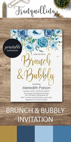 Brunch and bubbly baby shower Invitation Brunch bubbly bridal shower invitation, Blue floral invitation Spring summer shower ideas #blue #party #babyshower #bridalshower