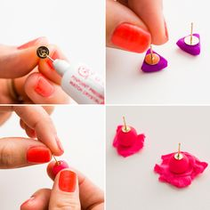 Follow this tutorial to make stud earrings.