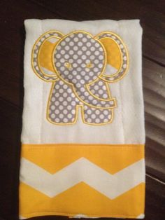 """Elephant, gender neutral, baby burp rag, gift. Like our Facebook page """"Sew Southern Stitches"""" for more items!"""