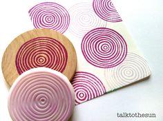 circle rubber stamp. hand carved rubber stamp. por talktothesun