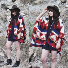 Get this look: http://lb.nu/look/7523100  More looks by Jocelyn Jacobson: http://lb.nu/thefoxandfern  Items in this look:  Forever 21 Southwestern Poncho, Balsam And Vine Feather Necklace, Steve Madden Boots