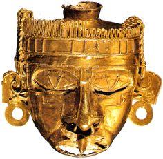 Mascara de oro encontrada en Monte Alban,Oaxaca,del Dios Xico-Totec,que era venerado tanto por los mixtecos como por los aztecas.