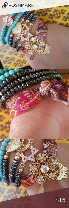 18k gold plated charm bracelet 18k gold plated charm bracelet CZ paved,  amazing quality, organza elastic ribbon, so fits any size Jewelry Bracelets