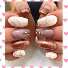 Cjp acrylics with Candy Coat 022, candy coat white with marbling effect, Lecente Rose gold glitter & Cupid crystals rose gold Swarovski #nails #acrylics #cjpacrylic #coffinshape #coffinshapenails #candycoat #lecente #cupidcrystals #marblenails #marblednails #lovenails