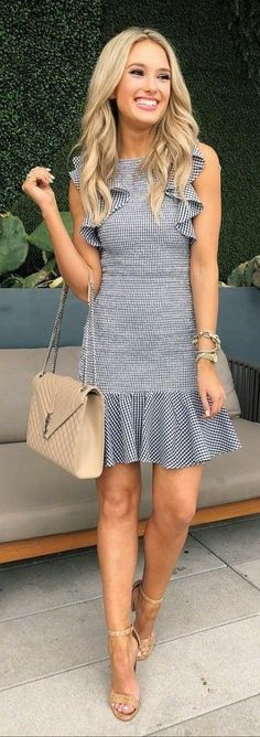 Cozy Spring Outfits To Inspire Yourself, Spring Outfits, woman wearing white and black sleeveless dress carrying quilted beige crossbody bag. Cute Dresses, Casual Dresses, Fashion Dresses, Summer Dresses, Fashion Clothes, Women's Clothes, Chic Outfits, Spring Outfits, Dress Outfits