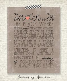 THE SOUTH Southern Charm Vintage Grunge 8 by designsbynicolina, $15.50