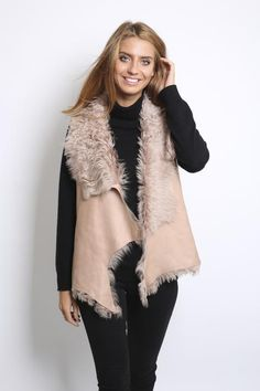 Beige Curly Reversible Sheepskin Gilet