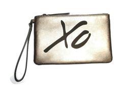 Banana Republic XO Bag Clutch Travel Cosmetics Bag Gold Leather FREE SHIP! #BananaRepublic #Clutch